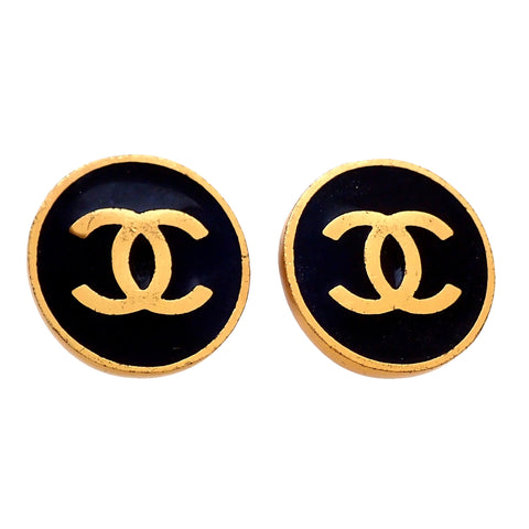 Authentic Vintage Chanel earrings CC logo black round