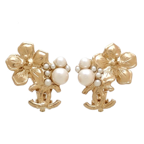 Authentic Vintage Chanel earrings CC logo cherry blossom faux pearl 2011