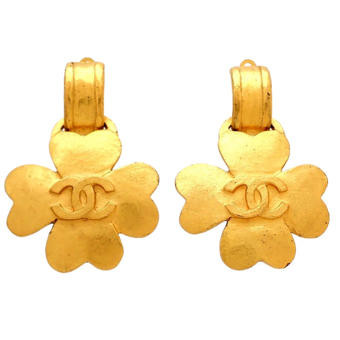 Authentic Vintage Chanel earrings CC logo clover dangle