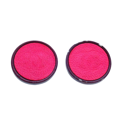 Authentic Vintage Chanel earrings CC logo pink leather round