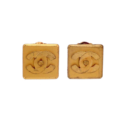 Authentic Vintage Chanel earrings turnlock CC logo square