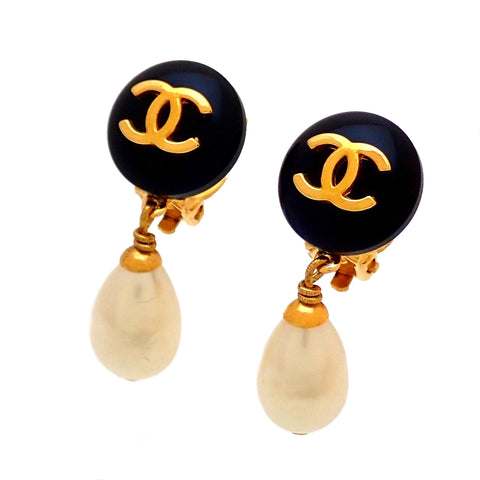 Authentic Vintage Chanel earrings CC logo black round faux pearl dangle