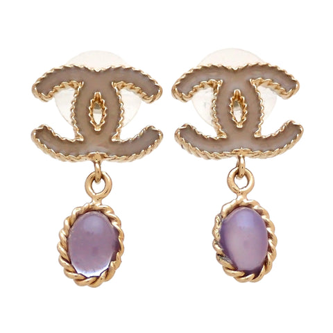 Auth vintage Chanel stud pierced earrings CC logo purple stone dangle