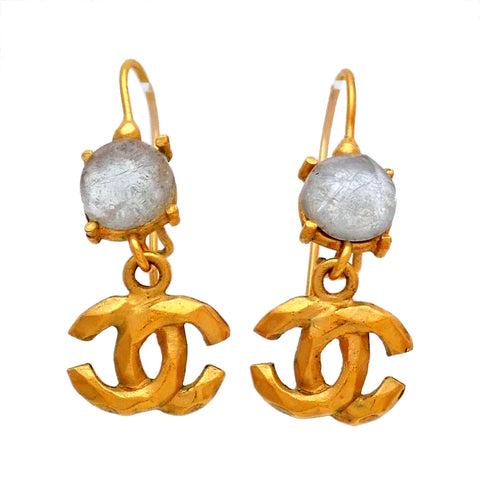 Auth vintage Chanel stud pierced earrings white stone CC logo dangle 99P
