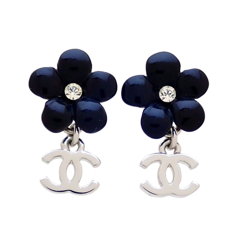 Auth vintage Chanel stud pierced earrings black flower CC logo dangle