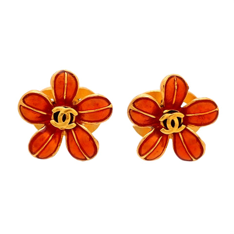 Auth vintage Chanel stud pierced earrings CC logo flower
