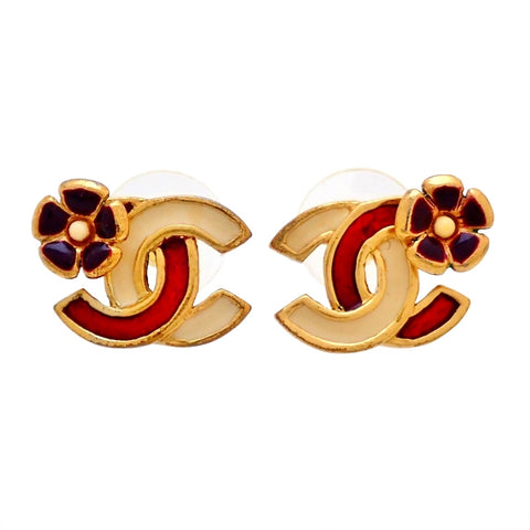 Auth vintage Chanel stud pierced earrings red white CC logo flower