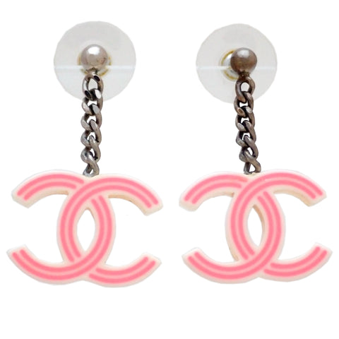 Auth vintage Chanel stud pierced earrings pink CC logo dangle plastic