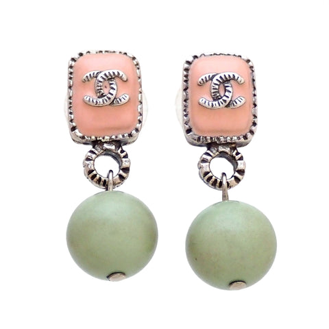 Auth vintage Chanel stud pierced earrings CC logo dangle pastel color