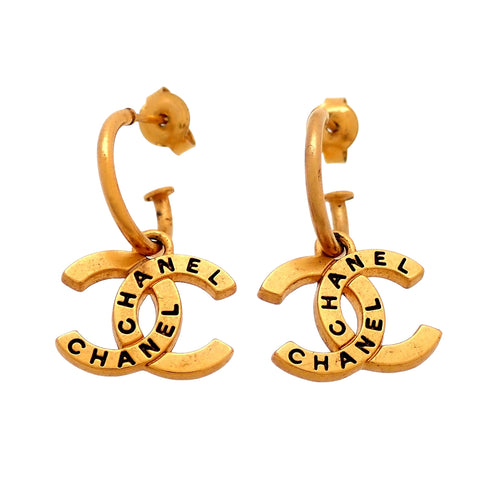 Auth vintage Chanel stud pierced earrings CC logo letter dangle