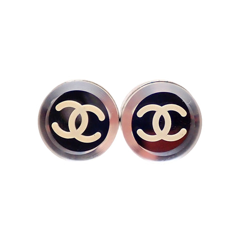 Auth vintage Chanel stud pierced earrings CC logo mirror round
