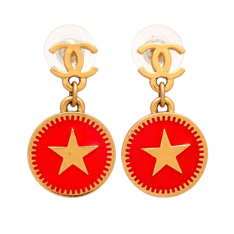 Auth vintage Chanel stud pierced earrings CC logo star red round dangle