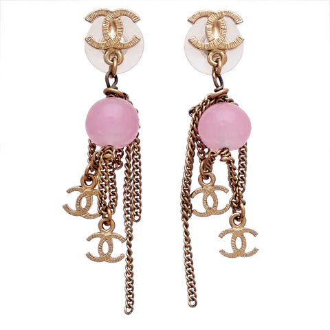 Auth vintage Chanel stud pierced earrings pink stone CC logo chain dangle