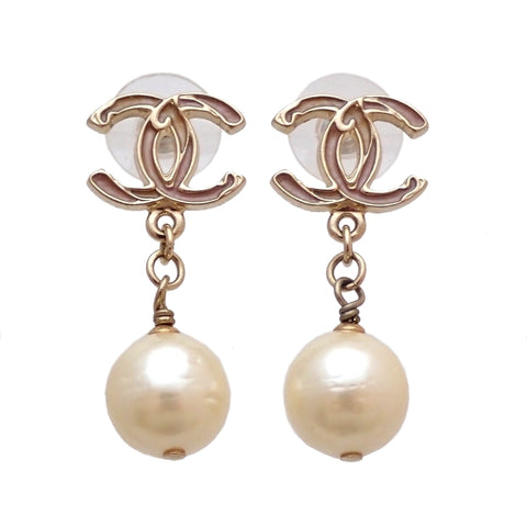 Auth vintage Chanel stud pierced earrings CC logo faux pearl dangle