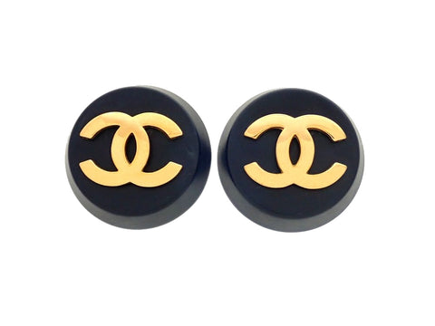 Authentic vintage Chanel earrings black round gold CC logo