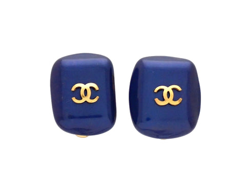 Authentic vintage Chanel earrings Blue faux pearl stone CC logo
