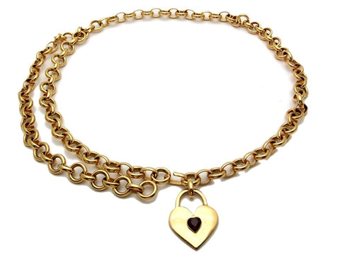 Authentic Vintage Chanel belt necklace red stone heart pendant chain