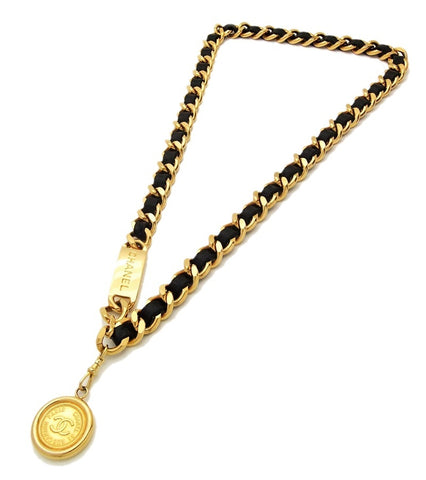 Authentic vintage Chanel belt necklace chain black leather cc pendant