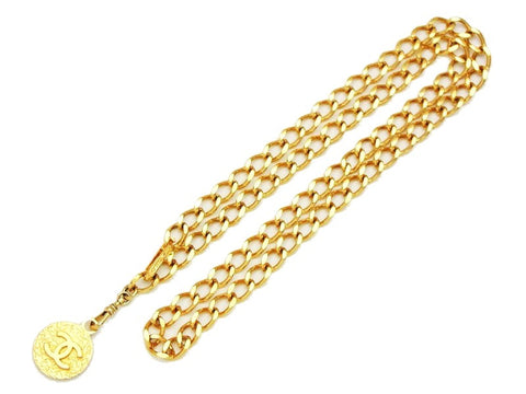 Vintage Chanel belt chain gold cc logo medal Authentic