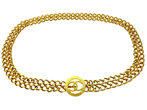 Vintage Chanel belt CC logo double chain
