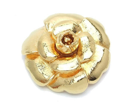 Authentic vintage Chanel pin brooch gold camellia large