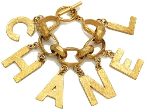 Authentic Vintage Chanel cuff bracelet bangle gold huge logo chain