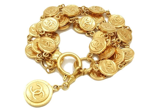 Authentic Vintage Chanel cuff bracelet bangle lot of gold CC medals