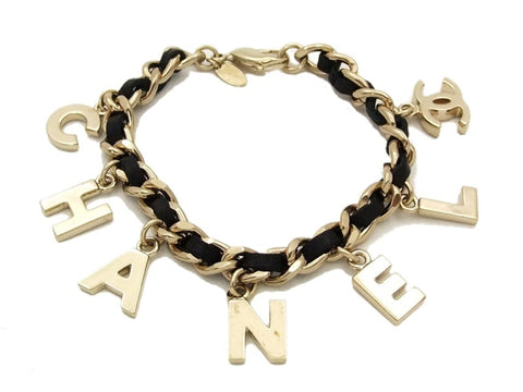 Authentic Vintage Chanel cuff bracelet bangle CC black leather chain