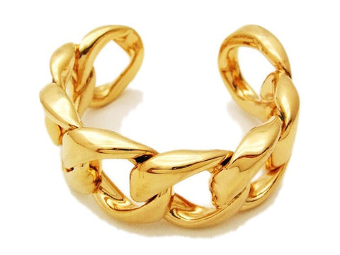 Authentic Vintage Chanel cuff bracelet bangle gold large chain jewelry