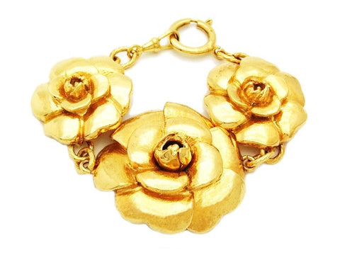 Authentic Vintage Chanel cuff bracelet bangle gold large camellia