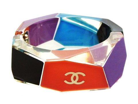 Chanel cuff bangle CC logo colorful plastic Authentic