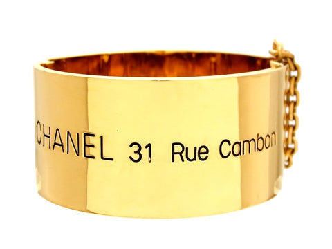 Vintage Chanel cuff bracelet 31 Rue cambon telephone number logo