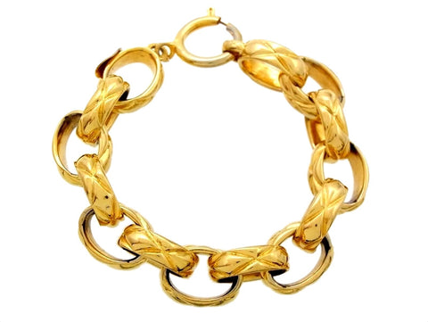 Vintage Chanel bracelet quilted chain gold tone