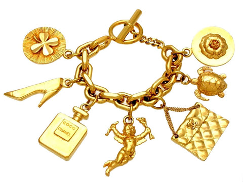 Vintage Chanel bracelet big icon charms angel turtle