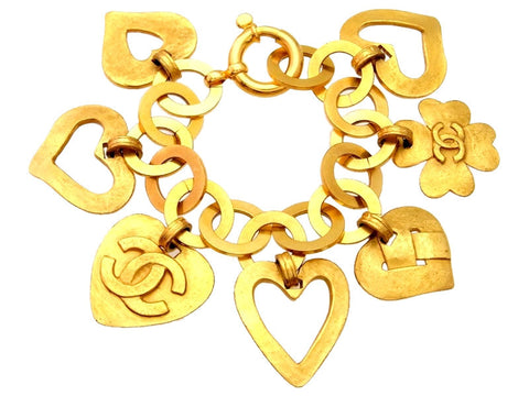 Vintage Chanel bracelet heart charms large