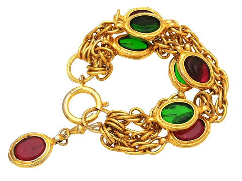 Vintage Chanel bracelet red and green stones