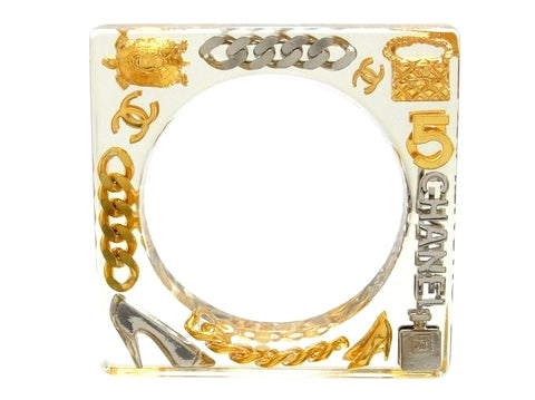 Vintage Chanel bracelet CC logo No.5 turtle clear