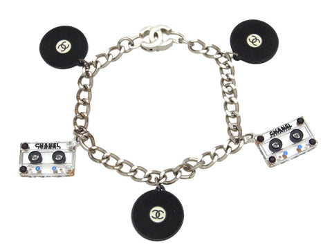 Vintage Chanel bracelet CC logo cassette tape and record