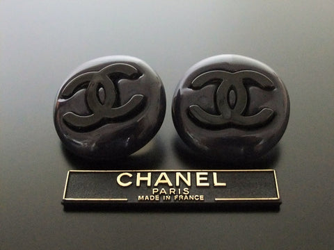 Authentic vintage Chanel earrings black CC navy blue round