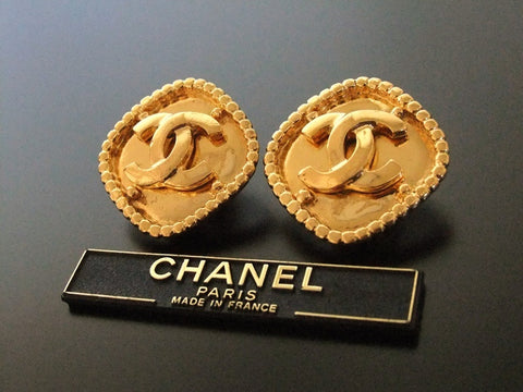 Authentic vintage Chanel earrings gold CC rhombus