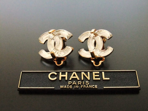 Authentic vintage Chanel earrings glass silver CC