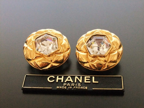 Authentic vintage Chanel earrings gold quilted round rhinestone