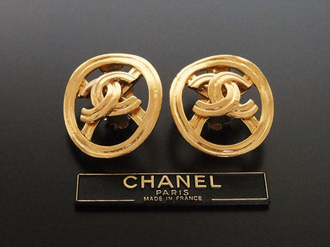 Authentic vintage Chanel earrings gold CC round large