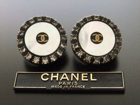 Authentic vintage Chanel earrings CC rhinestone white black