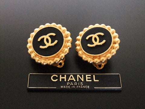 Authentic vintage Chanel earrings gold CC black round