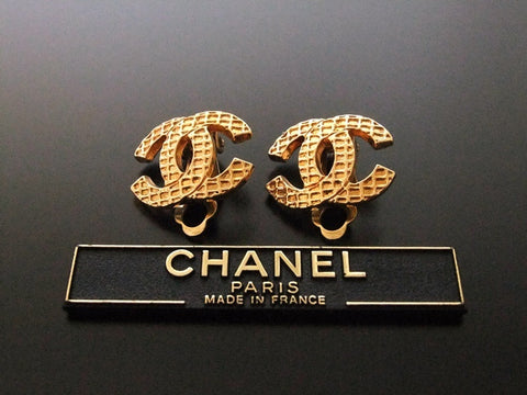 Authentic vintage Chanel earrings gold CC logo small