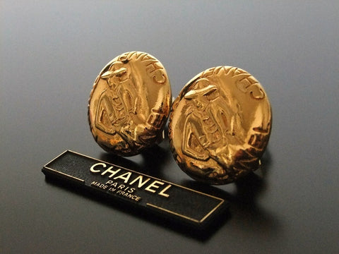 Authentic vintage Chanel earrings gold COCO round