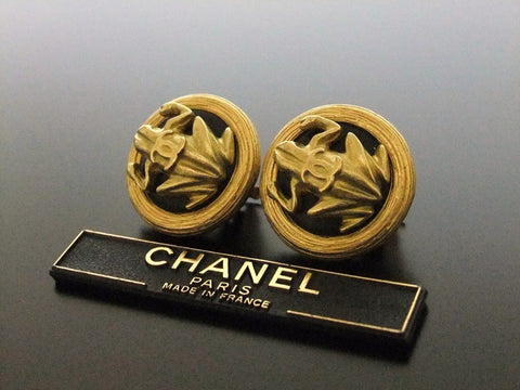 Authentic vintage Chanel earrings gold CC frog black round