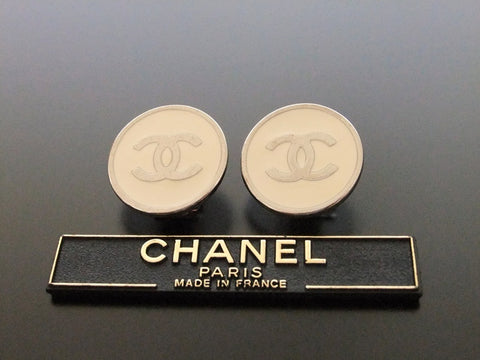 Authentic vintage Chanel earrings silver CC white round