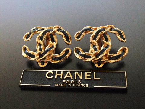 Authentic vintage Chanel earrings gold CC black paint